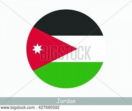 Jordan Round Circle Flag. Jordanian Circular Button Banner Icon. Eps Vector