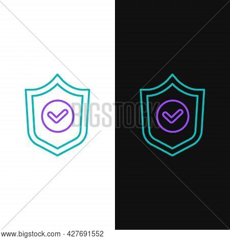 Line Shield With Check Mark Icon Isolated On White And Black Background. Protection Symbol. Security