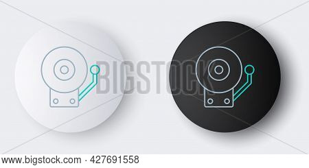 Line Ringing Alarm Bell Icon Isolated On Grey Background. Fire Alarm System. Service Bell, Handbell