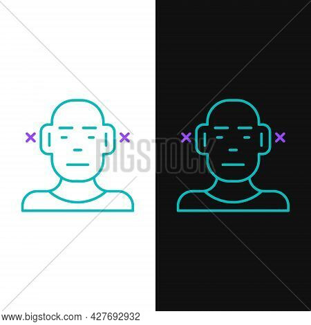Line Deafness Icon Isolated On White And Black Background. Deaf Symbol. Hearing Impairment. Colorful