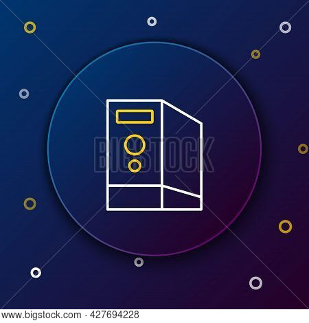 Line Case Of Computer Icon Isolated On Blue Background. Computer Server. Workstation. Colorful Outli