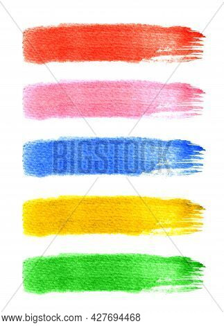 Watercolor Paint Brush Stripe, Marker Painting Colorful, Scribble Brushstroke In Watercolor Stripe A