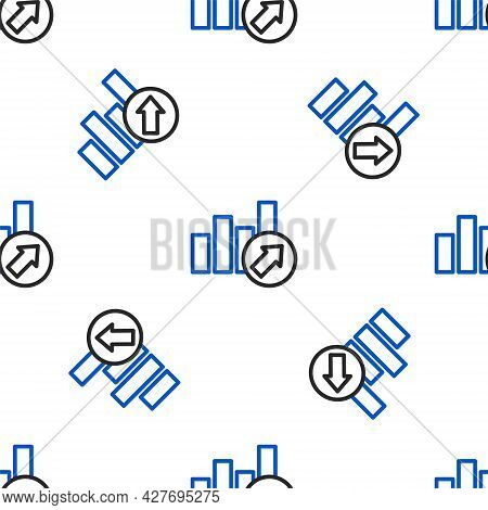 Line Financial Growth Increase Icon Isolated Seamless Pattern On White Background. Increasing Revenu