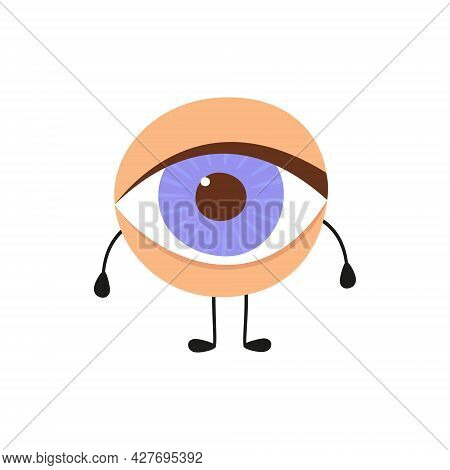 Human Eye Kawaii Character. The Eye Is Like A Sense Organ. Part Of The Face. Healthy Organ Of Vision