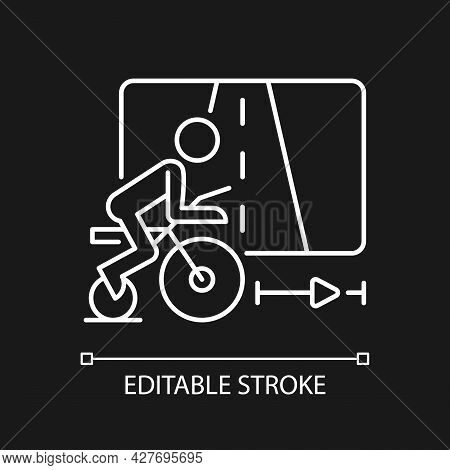 Virtual Cycling White Linear Icon For Dark Theme. Online Fitness Rally Sport. Racing Competition. Th