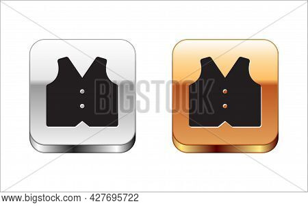 Black Waistcoat Icon Isolated On White Background. Classic Vest. Formal Wear For Men. Silver And Gol