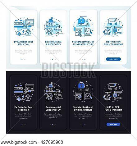 Electric Car Theme Onboarding Mobile App Page Screen. Ev Motives Walkthrough 5 Steps Graphic Instruc