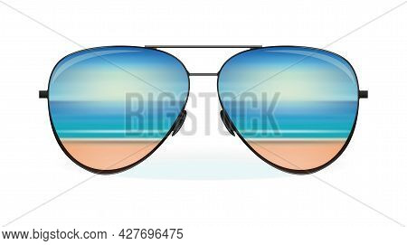 Sea And The Beach Are Reflected In Sunglasses. Summer Design. Vector Illustration Isolated On White