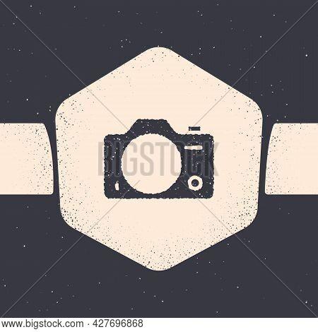 Grunge Photo Camera Icon Isolated On Grey Background. Foto Camera. Digital Photography. Monochrome V