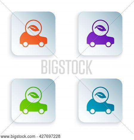 Color Eco Car Concept Drive With Leaf Icon Isolated On White Background. Green Energy Car Symbol. Se