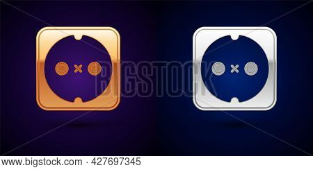 Gold And Silver Electrical Outlet Icon Isolated On Black Background. Power Socket. Rosette Symbol. V