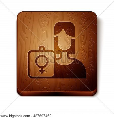 Brown Female Movement, Feminist Activist With Banner And Placards Icon Isolated On White Background.