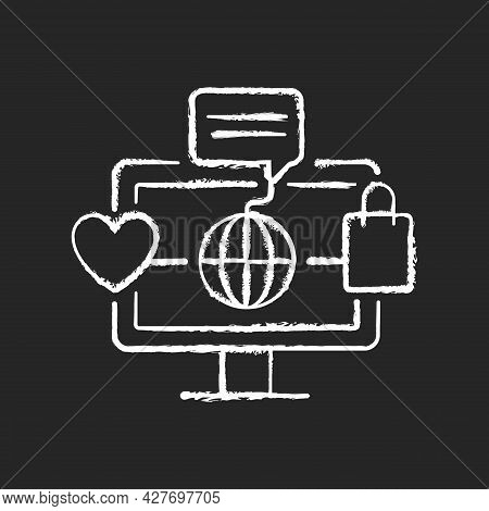 Online World Chalk White Icon On Dark Background. Digital Shopping Experience. Telecommuting. Sharin