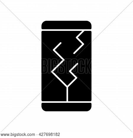 Screen Damage Black Glyph Icon. Cracks All Over Mobile Phone Display. Shattered And Broken Front Dis