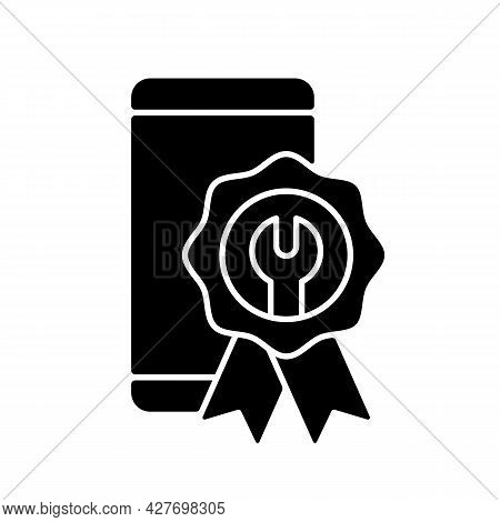 Certified Repairs Black Glyph Icon. Smartphone Authorized Renovate. Official Service. Professional M