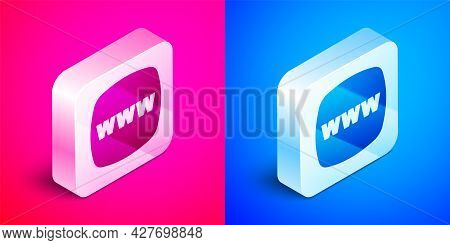 Isometric Website Template Icon Isolated On Pink And Blue Background. Internet Communication Protoco