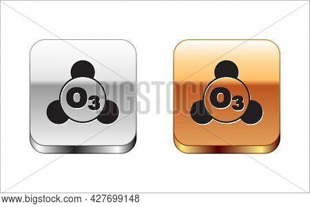 Black Ozone Molecule Icon Isolated On White Background. Ozone, O3, Trioxygen, Inorganic Molecule. St