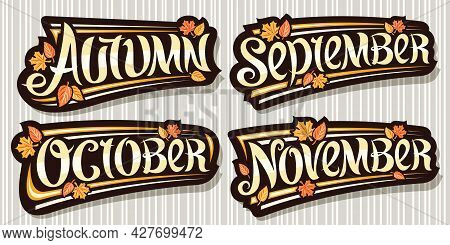 Vector Set For Autumn Season, Dark Logos With Curly Calligraphic Font, Falling Autumn Leaves And Dec