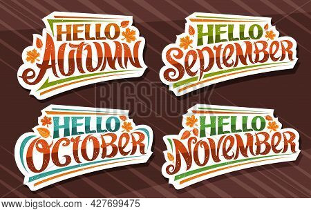 Vector Set For Autumn Season, White Logos With Curly Calligraphic Font, Falling Autumn Leaves And De