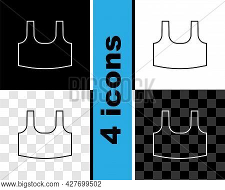 Set Line Undershirt Icon Isolated On Black And White, Transparent Background. Vector