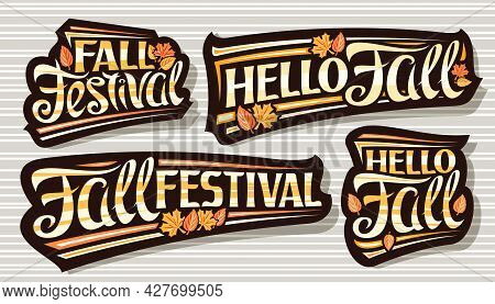 Vector Set For Fall Season, Dark Logos With Curly Calligraphic Font, Falling Autumn Leaves And Decor