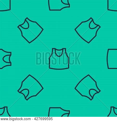 Blue Line Undershirt Icon Isolated Seamless Pattern On Green Background. Vector