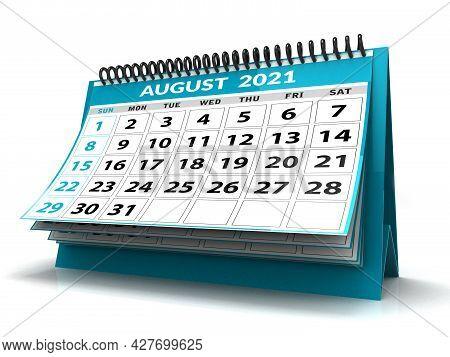 Desktop Calendar August 2021 Isolated In White Background, August 2021 Spiral Calendar. 3d Render