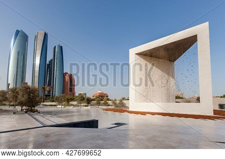 Abu Dhabi, Uae - May 9, 2018: Founders Monument And Etihad Towers In Abu Dhabi. Modern Architecture.
