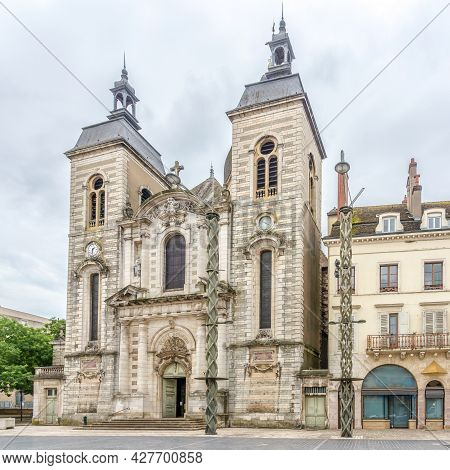 View At The Church Of Saint Pierre In The Streets Of Chalon Sur Saone In France
