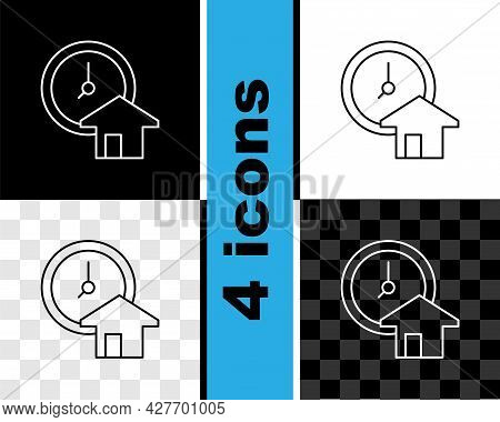 Set Line Time Is Money Icon Isolated On Black And White, Transparent Background. Money Is Time. Effe