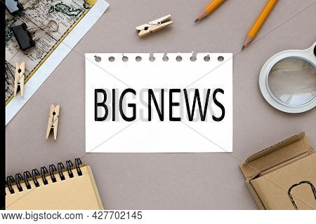 Latest News, Text On Notepad Near Magnifier And Card With Notepad