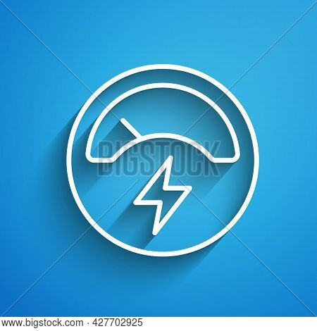 White Line Ampere Meter, Multimeter, Voltmeter Icon Isolated On Blue Background. Instruments For Mea