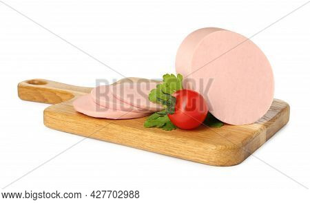 Wooden Board With Delicious Boiled Sausage, Tomato And Parsley Isolated On White