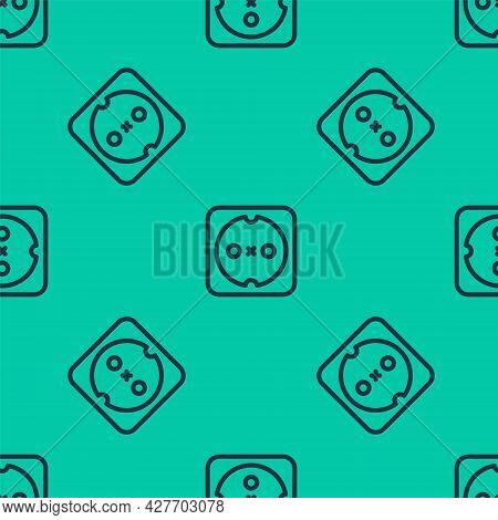 Blue Line Electrical Outlet Icon Isolated Seamless Pattern On Green Background. Power Socket. Rosett