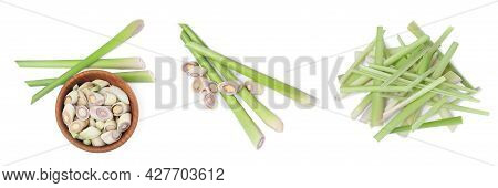 Set With Aromatic Fresh Lemongrass On White Background, Top View. Banner Design