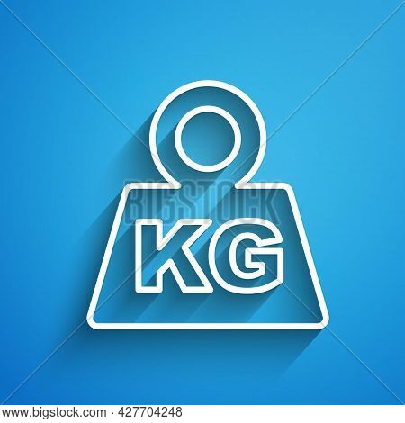 White Line Weight Icon Isolated On Blue Background. Kilogram Weight Block For Weight Lifting And Sca