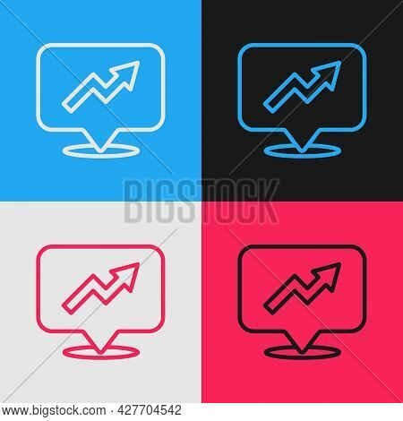 Pop Art Line Financial Growth Increase Icon Isolated On Color Background. Increasing Revenue. Vector