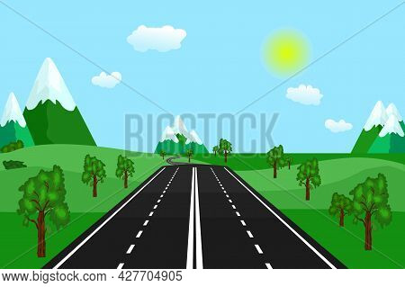 Country Road In Green Field And Mountains. Summer Or Spring Landscape. Roadway, Green Hills, Blue Sk