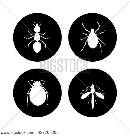 Harmful Insects Set Icon Isolated On White Background. Tick, Ant, Flea And Mosquito Inside Black Cir