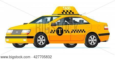 Taxi Car Isolated On White Background. Yellow Taxi Sedan Cab Icon. Call Or App Taxi Concept. City Tr