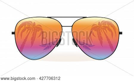 Sea And Palm Trees Are Reflected In Sunglasses. Summer Design. Vector Illustration Isolated On White