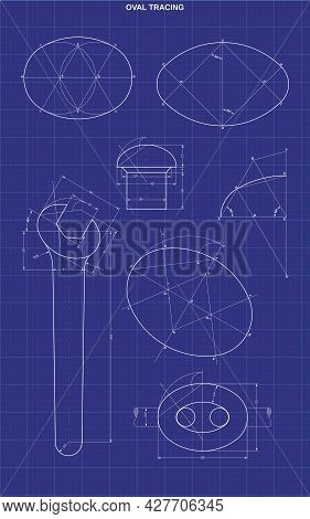 Design Of Oval Tracing On Technic Background