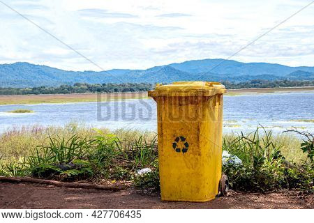 Bin, Yellow Trash Can Plastic At The River, Trash Can For Garbage Waste