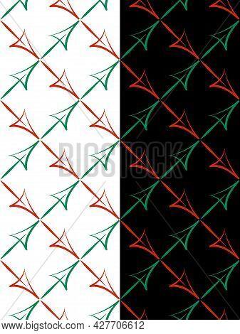 Arrows, Square Grid Seamless Pattern. Positive, Negative Business Destination Arrow, Hand Drawn Brus