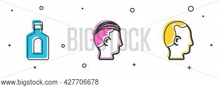 Set Bottle Of Shampoo, Hairstyle For Men And Baldness Icon. Vector