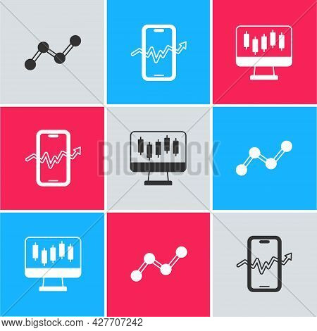 Set Graph Chart Infographic, Mobile Stock Trading And Stocks Market Growth Graphs Icon. Vector