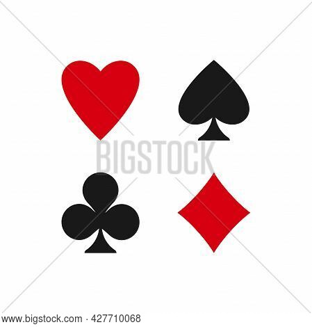 Poker Playing Cards Suits Symbols - Spades, Hearts, Diamonds And Clubs. Playing Card Deck Icons Isol