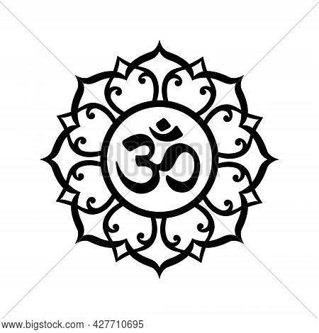 Om Mandala, Black A Symbol Of Hinduism. Ornament Spiritual Icon.