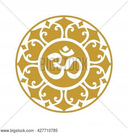 Om Mandala, Gold A Symbol Of Hinduism. Ornament Spiritual Icon.
