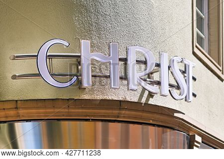 Baden-baden, Germany - July 2021:  Shop Sign Of German Jeweler And Watchmaker Chain Called 'christ'